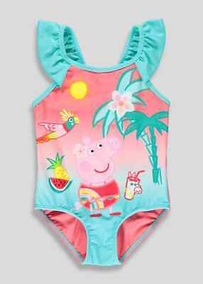 Girls Peppa Pig Tropical Print Swimsuit (12mths-5yr Beachwear  Swimming costume