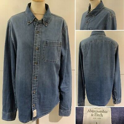 Preloved - Men's Abercrombie & Fitch 'Muscle Fit' Blue Denim Shirt - Sz Large