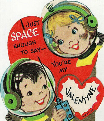 Vtg SPACE AGE VALENTINE Card ASTRONAUTS In Helmets GIRL & BOY Electronic Device