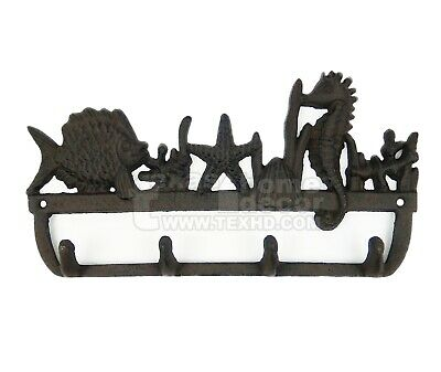 Sea Life Key Rack Nautical Hooks Towel Coat Holder Cast Iron Seahorse Starfish