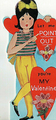 Vntg UNUSED Card RETRO MOD 60s FASHION GIRL Let Me Point Out You're My VALENTINE