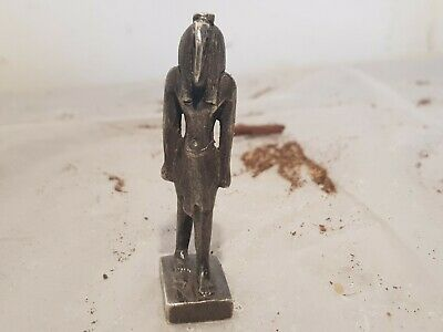 Rare Antique Ancient Egyptian Silver Statue God Toth Sceince writing1840-1760BC