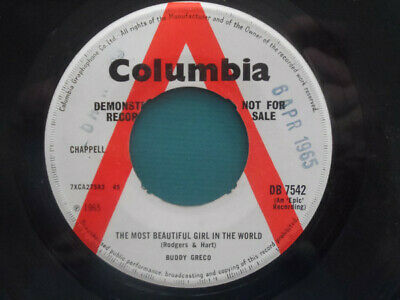 """Buddy Greco - The Most Beautiful Girl In The World (7"""", Mono, Promo)"""