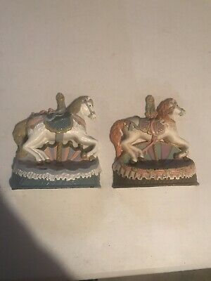 "pair of emson cast iron carousel horses 7"" Tall- 6"" Wide"