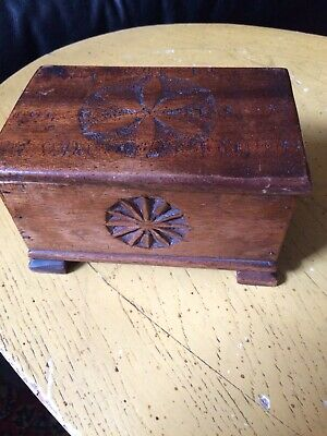 Handcarved Wood Box With Hand Carved Wood Lid Cover