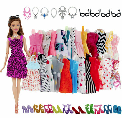 32 Pack Doll Clothes for Barbie Party Gown Outfits Shoes Glasses Necklaces Girls