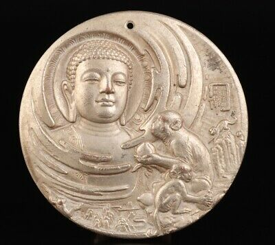 Unique Chinese Tibet Silver Hand-Cast Buddha Statue Spiritual Old Gift