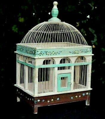 Bird Cage Vintage Wood Wire Hand-Painted Flowers Finch Canary Spring Door 18""
