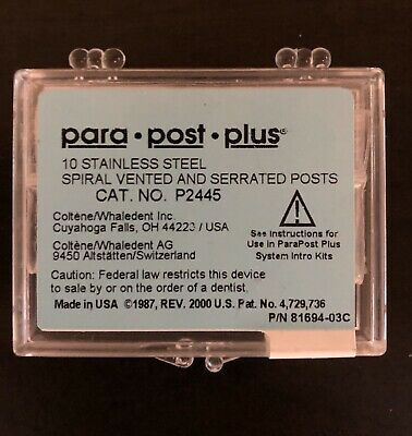 "Coltene Whaledent P244-5 ParaPost Plus Stainless Steel Posts .050"" Red 10/Pk"