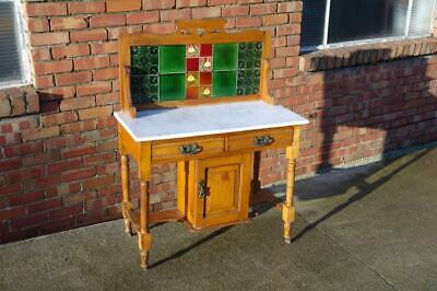 Edwardian Arts And Crafts Wash Stand Marble Top Liberty Style, Art Nouveau Tiles