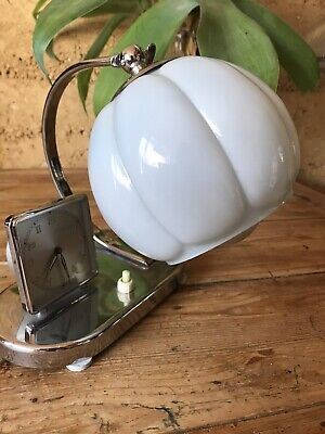 Antique Art Deco 1930s Chrome Clock Table Lamp With Original Glass Lampshade