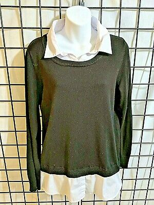 Faded Glory Black And White Sweater Set With Collared One Piece Size Large Adult
