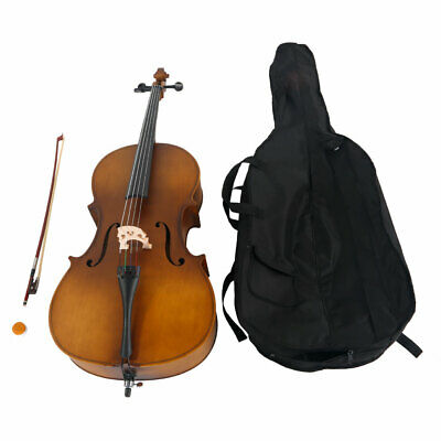 4/4 Acoustic Cello Case Bow Rosin Professional Acoustic Basswood Refined Durable