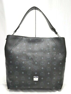 MCM MILLIE VISETOS Small Black Leather Monogram Hand Bag