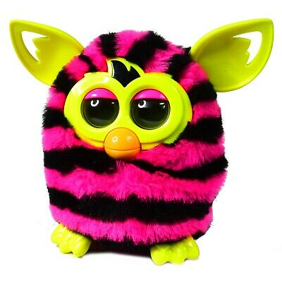 Furby Boom interactive Toy plush Pink Black Stripe & Yellow Ears   - Works