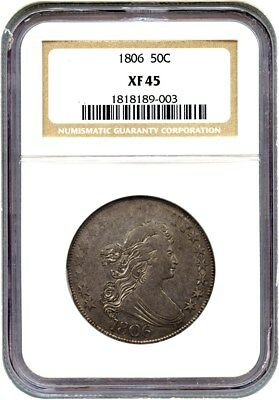 1806 50c NGC XF45 (O-114, Pointed 6, Stems) - Bust Half Dollar - Great Type Coin
