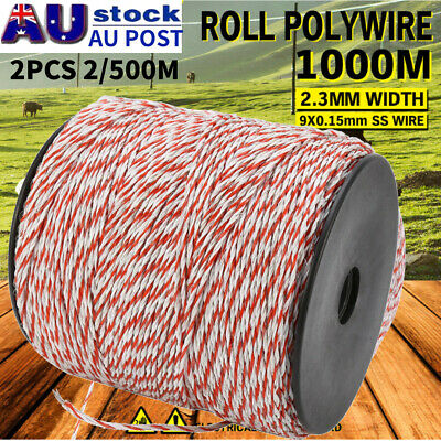 1000M Roll Polywire Electric Fence Stainless Poly Wire Energiser Insulator 2.3mm