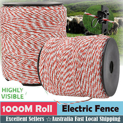 1000m Polywire Roll Electric Fence Energiser Poly Wire Polyrope 2.3MM Wide