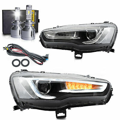 SPRAY LACQUER LED Headlights w/Sequential Turn Sig.+H7 LED Bulb for 08-17 Lancer