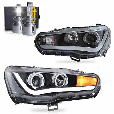 Customized LED Headlights w/DRL Single Beam+VLAND H7 LED Bulbs for 08-17 Lancer