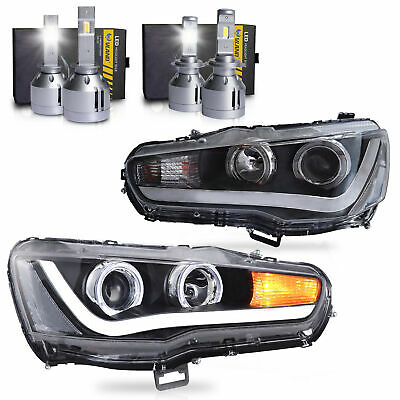 Customized LED Headlights w/DRL Single Beam+H1&H7 LED Bulbs for 08-17 Lancer
