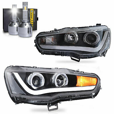 Customized LED Headlights w/DRL Single Beam+VLAND H1 LED Bulbs for 08-17 Lancer