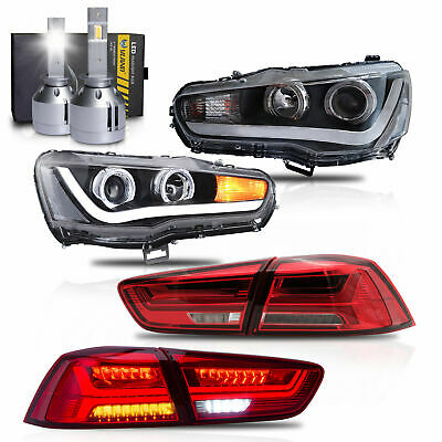 LED Headlights w/DUAL BEAM+RED CLEAR Taillights+H1 LED Bulbs for 08-17 Lancer