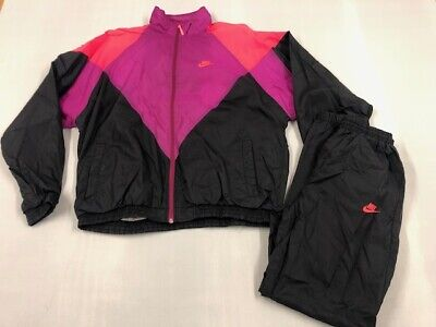 Vintage NIKE 80s/90s Neon Shellsuit Tracksuit Size Large Jacket Small Trousers