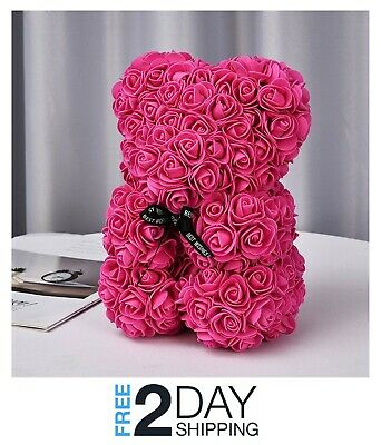 New Red Rose Teddy Bear Flower Valentines Day Gift Mothers Day Birthday With Box