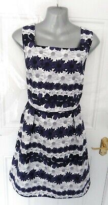 ❤ RED HERRING Ladies Size 16 Navy Blue Grey White Floral Occasion Dress Lined