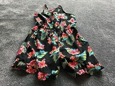 Girls PRIMARK Black Flower Shorts Playsuit - Age 12-13 BRAND NEW WITH TAGS