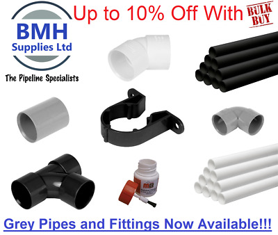 32/40/50MM MUPVC Solvent Weld Waste Pipe 1M & Fittings Black/White Bulk Discount