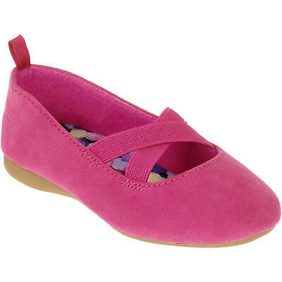 NEW Toddler Girls Faded Glory Pink Faux Suede Flats Shoes Size 7