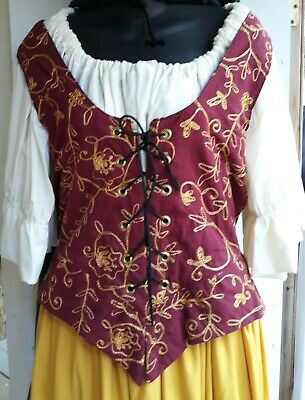 "NEW: Burgundy/Gold Embroidered Renaissance Bodice-25""/26"" Waist Size"