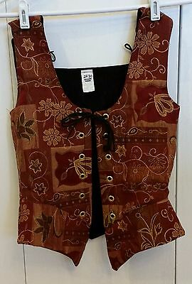 "Brocade Print in Burgundy and Gold Renaissance Bodice-28""/30"" Waist Size"