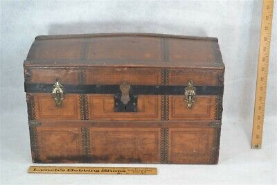 dome top trunk steamer tin embossed 18 x 10 Victorian small child doll antique