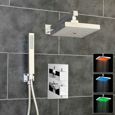 Premium Concealed Thermostatic Shower Mixer Valve 2 Outlets - Square LED Head