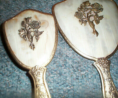 Vintage 2 Pc Vanity Set Roses Hair Brush Comb  and Hand Mirror