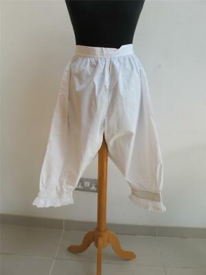 Antique Victorian Bloomers Open Crotch Split Cotton Drawers Embroidered c1890