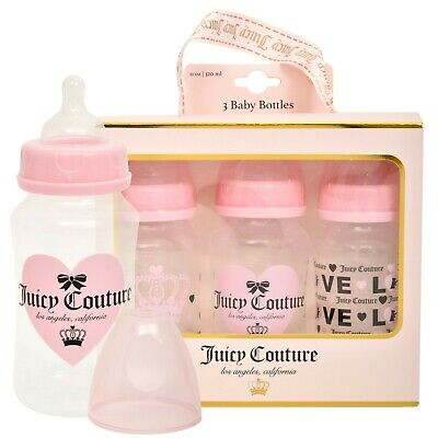 Juicy Couture 11oz Baby Bottle, 3 Pack Set in Gift Package- Newborn and Infant B