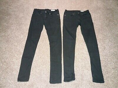 Mens / Boys Denim Co Black Super Skinny Jeans Size W32 L34 - 2 pairs