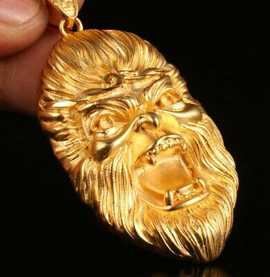 China Gold-Plated Hand-Carved Monkey Head Statue Pendant Auspicious Collection