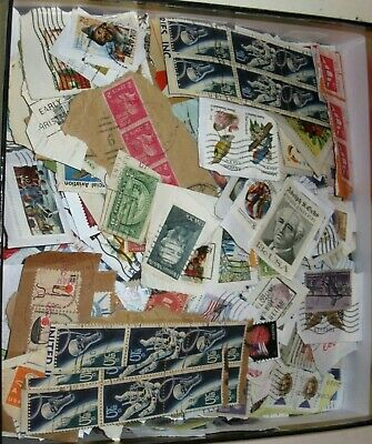Us Shoe Box Lot Full Of Us Stamps 1000+++ On Paper From The 30'S To Recent