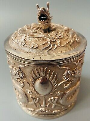 LOVELY SOLID SILVER CHINESE EXPORT DECORATIVE TEA CADDY, SUN SHING C1800 227g