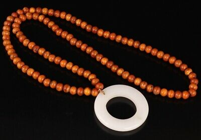 Retro China Wood Jade Necklace Lady Decoration Spiritual Mascot Collection Gift