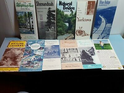 LOT 11  Vintage VIRGINIA Tourist Travel Motel Brochures Historial Sites