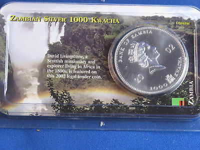 2002 Bank Of Zambia 1000 Kwacha BU Silver 1 Ounce B4685