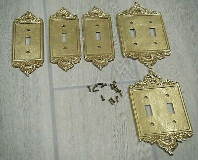 5 Vintage Brass Switch Plates Shabby Chic