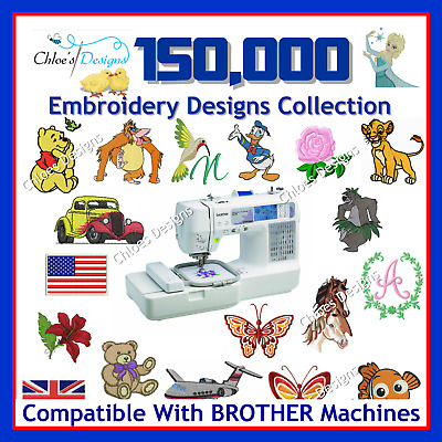 150,000 machine embroidery designs files PES USB compatible with brother machine