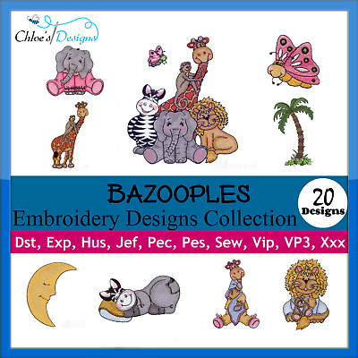 BAZOOPLES COLLECTION MACHINE EMBROIDERY DESIGNS ON CD OR USB PES JEF HUS brother